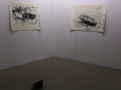 Adel Abdessemed and Latifa Echkahch at Dvir Gallery's booth, Art Basel 2012