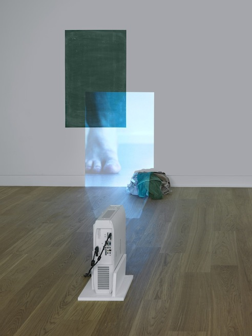 Every Corner of the Soul, 2013, Media Player, beamer, speaker, towel, paint, bag