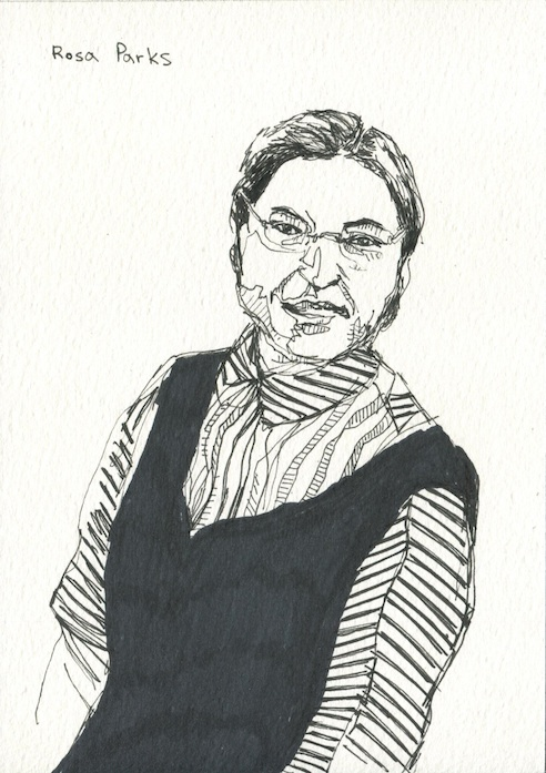 Foma, Rosa Parks, 2013, ink on paper, 21X15 cm