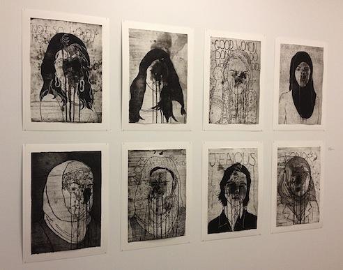 andi arnovitz,Acid, 2013, Sugarlift, etching, aquatint and spitbite 37.5 x 57cm