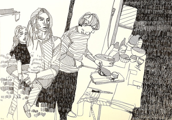 foma dinner 30x50 ink on paper 2013
