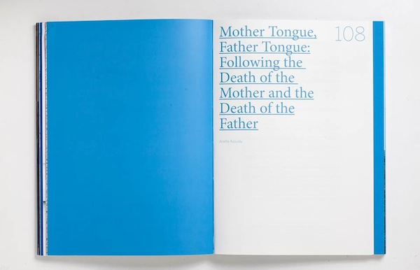 Mother Tongue, Father Tongue- Following the Death of the Mother and The Death of the Father, by Ariella Azoulay. Translated by Talya Halkin, edited by Ian Sternthal. Appearing for the first time in English.