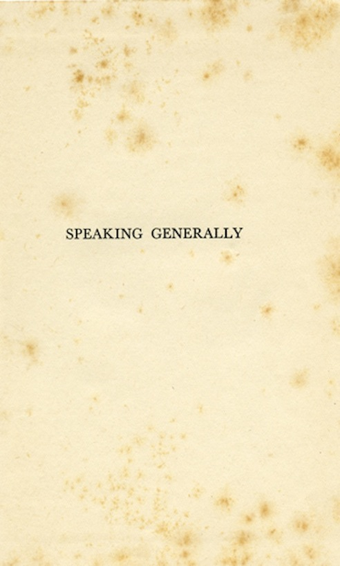 Speaking Generally