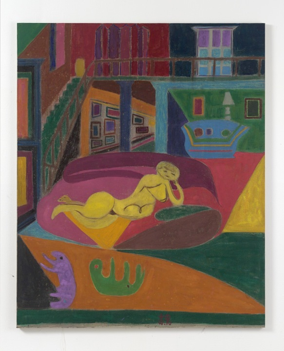 Tal R., Drawing Class, 2015, rabbit glue on canvas, 200x163 cm